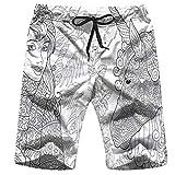 Men's Swim Trunks Elephant Zebra Lion Giraffe Baby Cute Animals African Quick Dry Beach Wear Shorts Swimwear with Pockets,XXL