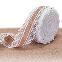 LIVACASA Hessian Lace Ribbon Vintage Jute Hessian Ribbon 5.5cmX10m Burlap Lace Ribbon Craft Ribbon Burlap for Wedding Sewing Card Making Crafts