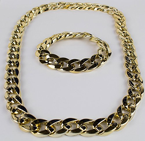 Panelize® Proll Lude Macho Proleth Angeber Hip Hop Rapper Bonzen Set - Armband + Kette Gold