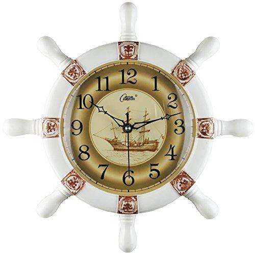 wanduhr,wanduhr ohne tickgeräusche,wanduhr groß,wanduhr vintage.Rudder Wanduhr Wohnzimmer stumm kreative Uhr modernen europäischen Mittelmeer Anhänger dekorative Quarzuhr, 14 Zoll, Weißgold