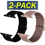 INZAKI Compatible Cinturino per Apple Watch Cinturino 38mm,40mm,42mm,44mm, Cinturino Orologio Bracciale in per iWatch Series 5/4/3/2/1,Rosa&Nero