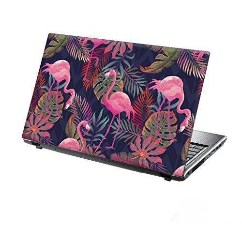 TaylorHe Folie Sticker Skin Vinyl Aufkleber mit bunten Mustern für 13-14 Zoll (34cm x 23,5cm) Laptop Skin Tropische Flamingos, Bäume