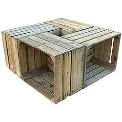 """4 Piezas sólido Cajas de madera """"Johanna"""" Cajas de manzana Cajas de vino Cajas de fruta Shabby antiguo usado Vintage"""