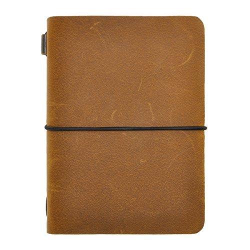 Zlyc diario in vera pelle Travelers notebook ricaricabile con foderato sfoderato calendario libro per uomini donne studenti, giallo Passport Size/3.9' x 5.2' x 0.9'
