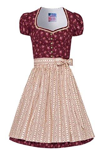 8022b36778276 Edelheiss Moser Trachten Baumwolle Mini Dirndl 55er Dunkelrot Geblümt Creme  004403, Rocklänge: ca. 55 cm, mit Knopfleiste, Größe 36