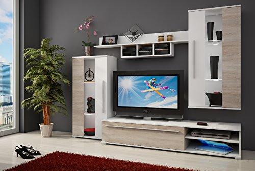 Homely - Mueble de salón Modular Nature Color Roble Sonoma y Blanco de 235 cm