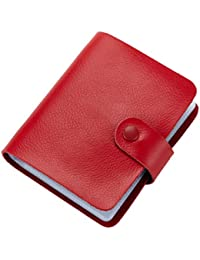 Tarjetero piel Esdrem DNI libro negocio 60 cuenta portatarjetas libro nombre, color rosso