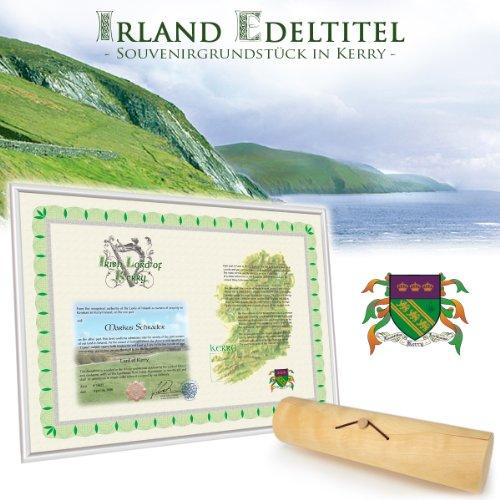 Irischer Lord Titel - werden Sie Tiarna von Kerry - einen Adelstitel kaufen - mit Urkunde, Wappen und vielen Materialien