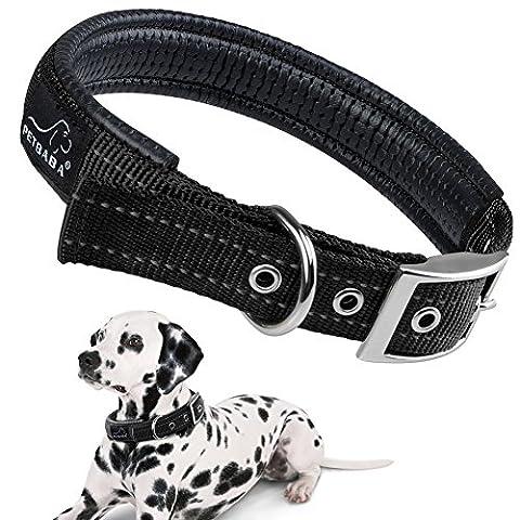 Hundehalsbänder Reflektierend, PETBABAB Gepolstert Verstellbar Nylon Training Hunde Halsband für Hunde (Schwarz Radiant Element)
