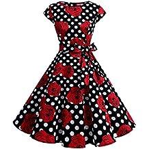 Dressystar Vestidos Coctel Corto Vintage 50s 60s Manga Corta Rockabilly Elegante Mujer