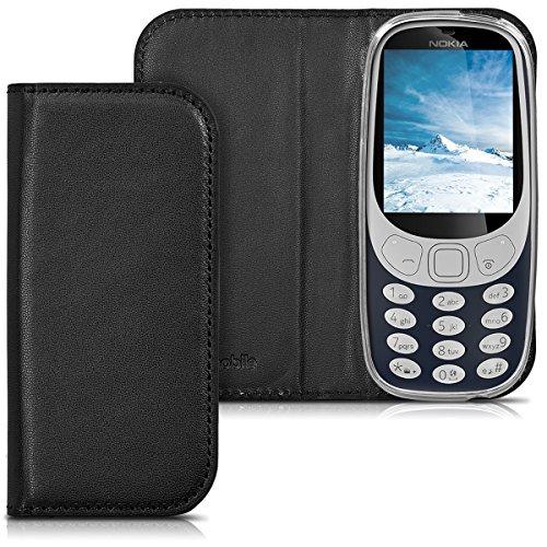 kwmobile Hülle für Nokia 3310 (2017) - Flipcover Case Handy Schutzhülle Kunstleder - Bookstyle Flip Cover Schwarz