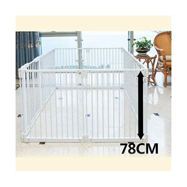 Metal Fireplace Fence Pet Playpen/Safety Gate/Safety Barrier/Stove & Fire Guard/Room Divider (Color : Height 78cm, Size : Panel 1+7) Huo ● pet playpen materials: strict selection of standard safety materials ABS plastic +Seamless steel pipe + environmental protection paint ●Automatic rebound: automatic rebound when less than 90°, normally open when greater than or equal to 90°,Open door size increased to 44cm for Easy access ● Scalable and ideal private space: The size of each piece of iron net is 64 x 78 cm. Our fence for pets allows the free installation and adaptation of the right room to your needs. It can be the private room of a pet, a playground or a delivery room to soothe the care. 9