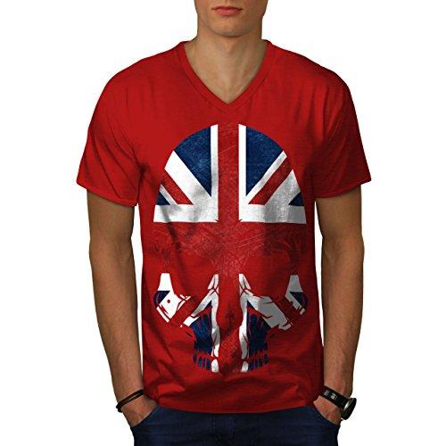 (wellcoda Schädel Metall Flagge Tod Vereinigtes Königreich Männer M V-Ausschnitt T-Shirt)