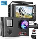 Campark ACT76 Action Cam 4K WiFi 16MP Ultra HD Sport Action Camera con Dual Screen Telecomando 170° Grandangolare Due 1050mAh Batterie e Kit Accessori