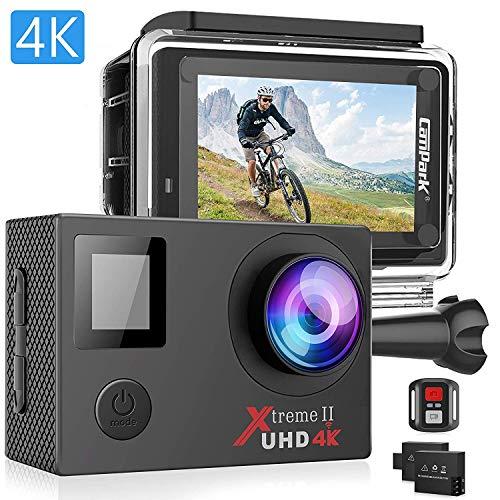 Campark Action Cam Impermeabile 4K WiFi 16MP Sport Camera 170 ° Grandangolare Camcoder Subacqueo con Telecomando 2 Aggiornato Batterie