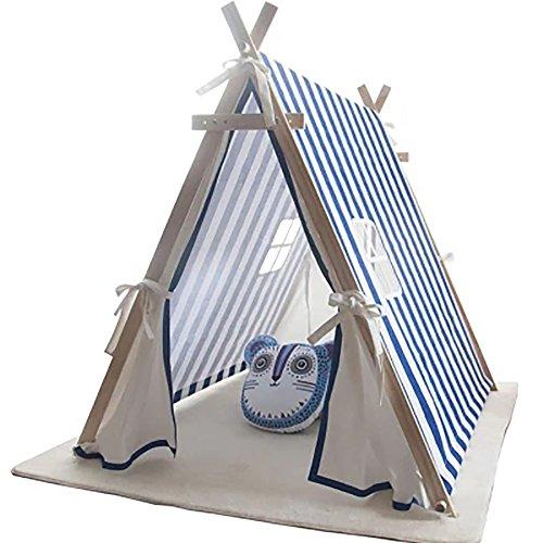 ADFD Indoor-Zelt, Baumwoll-Leinwand, Leicht Zu Reinigen, Kiefer-Frei, Einfache Faltung, Breite Einstellbar, Indoor, Outdoor, Dual-Use, 1,5 ㎡, Blau-Weißen Streifen.