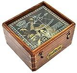 Caja de madera en Glasstop cenestesia - alemán cenestesia 5in Glasstop de estampado de caja de madera con diseño marino de barco cenestesia con diseño marino de navegación instrumento de navegación Sea cenestesia