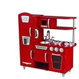 KidKraft 53173 Red Vintage Wooden Pretend Play Toy Kitchen for Kids with role play phone included