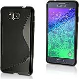 igadgitz S Line Negro Lustroso Funda Carcasa Gel TPU para Samsung Galaxy Alpha SM-G850 Case Cover + Protector Pantalla