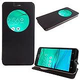 Asus Zenfone Go ZB500KL 5.0' Étui HCN PHONE Housse Coque View Case Flip Folio Leather cover pour Asus Zenfone Go ZB500KL 5.0' - NOIR