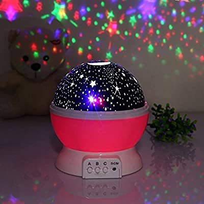 XFH Rotating 3 Modes Night Lighting Lamp Romantic Projector, Rotation Night Projection Lamp Kids Bedroom Bed Lamp for Christmas Children