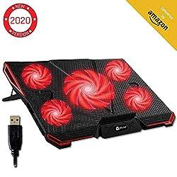 KLIM Cyclone - Laptop Kühler + Ständer + Maximale Kühlung + Verhindere Überhitzung + Schütze Dein Laptop + 5 Lüfter 2200 & 1200 RPM + Cooling Pad für Computer PS4 Xbox One + Rot Neue 2020 Version