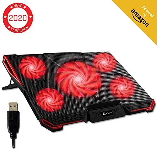KLIMTM Cyclone - Refroidisseur Ordinateur Portable - Le Plus Puissant - Refroidissement Ultra Rapide - 5 Ventilateurs Silencieux - Refroidisseur PC Portable PS4 Xbox One - Rouge Nouvelle Version 2020