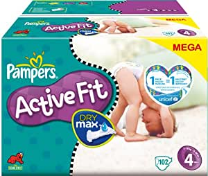 Pampers - 81212865 - Active Fit Couches - Taille 4 Maxi (7-18 Kg) - Megapack X102 Couches