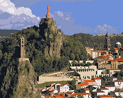 ZYCD Unterstützung Benutzerdefinierte Frankreich-Klippen-Statuen-Kirchen-Natur-Landschaftsmalerei nach Zahlen für Wohnzimmerwand 40cmx50cm Rahmenlos (Kirche Weihnachten Spiele Für Erwachsene)
