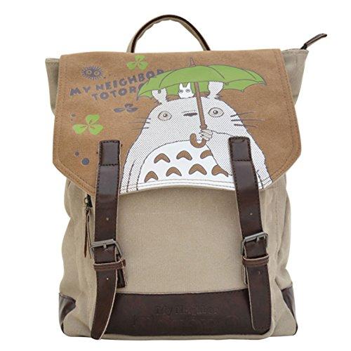 JUND Leinwand Anime Schultasche Jungen Totoro Rucksack Mädchen Fashion Backpack Kawaii Tierdruck Daypack (Anime Jungen Mädchen Und)
