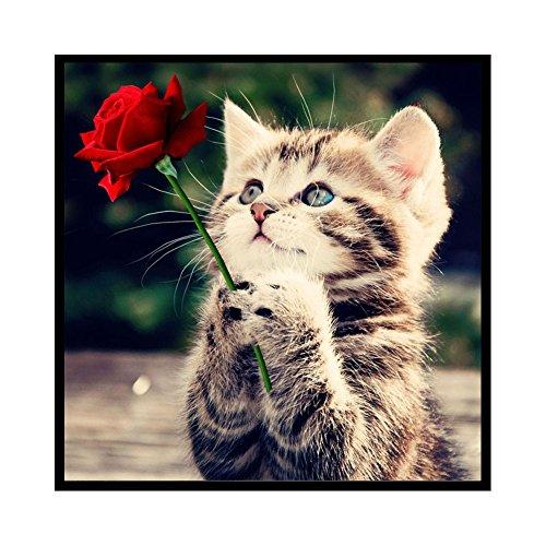Gemini_mall® Cat Rose Flower DIY 5D Diamond Embroidery Painting Rhinestone Cross Stitch Kit Mosaic Craft Home Decor