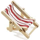 Deko-Liegestuhl, Holz, rot-weißer Stoffsitz, 5 x 3,5 cm
