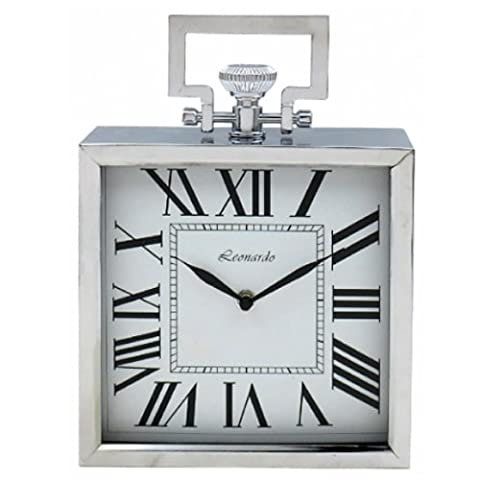 20CM SQUARE CLOCK CHROME MANTEL DESK QUARTZ HOME OFFICE DECOR VINTAGE SILVER NEW