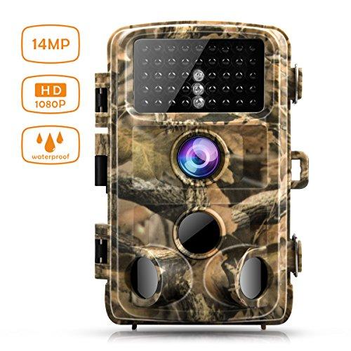 """Wildkamera Campark 14MP Full HD 1080P Jagd Kamera Wasserdicht Gartenkamera 120° Weitwinkel Vision Überwachungskamera 2.4"""" LCD 42pcs Low Glow 20m Nachtsicht mit Bewegungsmelder IP56"""