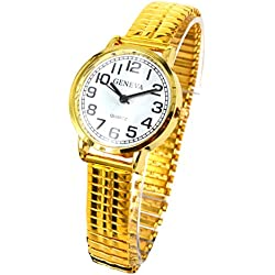 Ladies Easy Read Watch Gold Expandable Watch Stretchable Watch Retro Expander