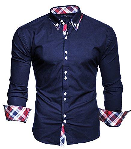 KAYHAN Herren Hemd Slim Fit Bügelleicht, Super Modern super Qualität Musterärmel Dunkelblau