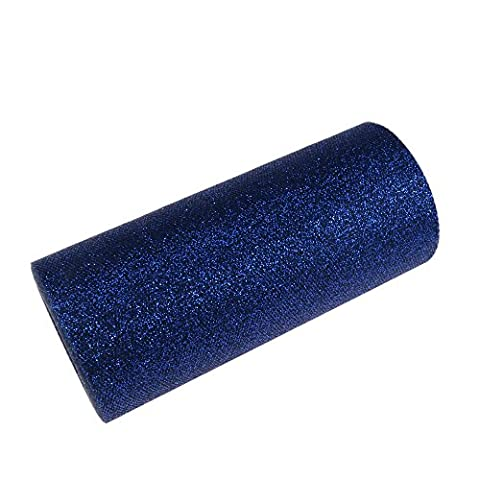 YCNK 6 Inch 25 Yard Glitter Tulle Roll Wedding Gift Bow Craft Decor Tutu Dress Party Decorations Table Sashes (Navy