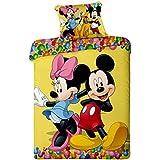 Jerry fabrics JF0115 Bedding de Mickey y Minnie Mouse micro 1 x{2015} edredón y funda de almohada, 100% microfibra de poliéster, 140 x 200/70 x 90 cm