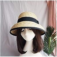 GGLLBL con Campana de Paja Blanca, superando Retro Sombra de Vacaciones Cuenca pequeños del Sombrero de Asuntos Exteriores Comercial Original de una Playa de Las Mujeres Sombrero de Paja