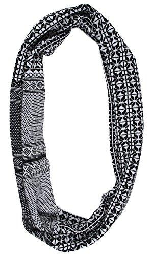 Yellow Submarine Wool/Acrylic Black&Whitefloral Knitted Muffler - Black Free Size