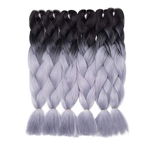 Extension treccine lunghe capelli a treccia finta braiding braids hair kanekalon braids extensions fibre 600g/6 bundles, shatush 60cm due tonalità # nero/grigio argento
