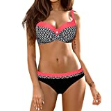 Bikini Damen Push Up LHWY Frauen Gepolstert Push-Up BH Sommer Bikini Set Vintage Retro Badeanzug Strand Sport Bademode Beachwear (2XL, Watermelon Red)
