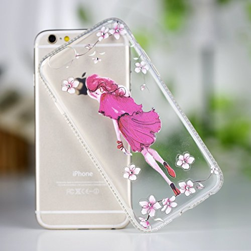 Coque Housse Etui pour iPhone 6 / 6S, iPhone 6 Coque Etui en Silicone Placage Housse avec Bling Diamant, iPhone 6S Silicone Or Rose Coque Slim Soft Gel Etui, iPhone 6 / 6S Silicone Case Protective Cov Fille-fille d'âge mûr