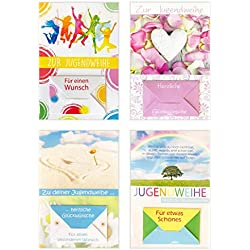 Edition Seidel Set 4 Premium Geldscheinkarten zur Jugendweihe mit Umschlag (Doppelkarten/Klappkarten mit Briefumschlag) Karte Jugendweihekarten (4er Set Jugendweihe)