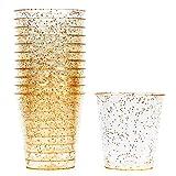 150 Vasos de Chupito Desechables de Plástico Duro con Elegante Brillo Dorado, 1oz(30ml) -...