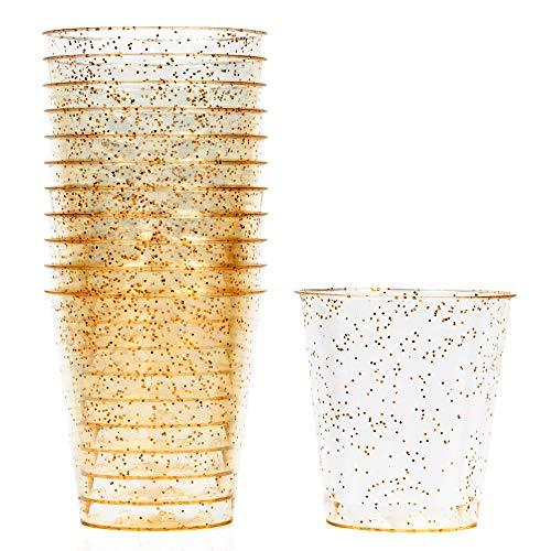 150 Hartplastik Schnapsgläser mit Elegantem Goldglitter, 1oz(30 ml) - Stabil, Einweg oder Wiederverwendbar - Kunststoff Shotgläser für Schüsse, Wodka-Gelee, Partys, Hochzeiten, BBQs, Weihnachten.