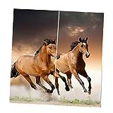 MagiDeal Deko Verdunkelungsvorhang Set - Tiere Serie - Pferde