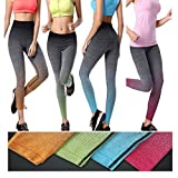 Phenovo Elastic Skinny Striped Ombre Yoga Leggings Gym Pants for Women Green L