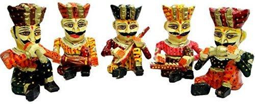 The Hue Cottage bawla Satz von 5 Stück Handarbeit Rajasthani Statue Holzfigur Geschenk Musiker bawla Band Multicolour Artikel Dekor