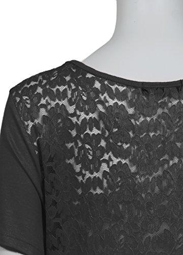 Femmes Top col rond dentelle florale au dos de mulet ourlet Tailles Plus Noir